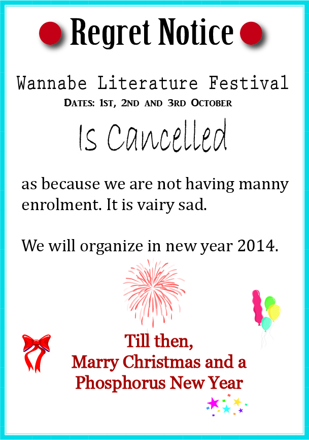 Wannabe Lit Fest Cancelled